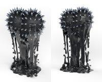 Konstobjekt, totem, svart hjärta för trofé med grova spikar Royaltyfria Bilder