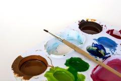 Konstpalett med målarfärg Royaltyfri Fotografi