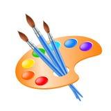 Konstpalett med målarfärgborsten för teckning Fotografering för Bildbyråer