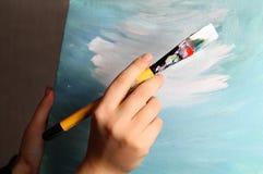 Konstpalett och paintbrushes Royaltyfri Fotografi
