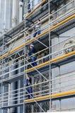 Konstruieren einer Baugerüststruktur in Madrid Lizenzfreies Stockfoto