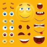 Konstruktör för skapelse för tecken för vektor för framsida för smiley 3d för tecknad film gul Emoji med sinnesrörelser, ögon och royaltyfri illustrationer