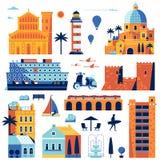 Konstruktör för sommarmedelhavstad royaltyfri illustrationer