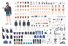 Konstruktör för sportgrabbtecken Uppsättning för kroppsbyggaremanskapelse Olika ställingar, frisyr, framsida, ben, händer stock illustrationer