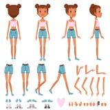 Konstruktör för tonåringflickatecken, skapelseuppsättning Full längdframdel-, baksida- och sidosikt Kroppsdelar och samling av royaltyfri illustrationer