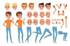 Konstruktör för tonåringpojketecken Uppsättningen av olik manlig sinnesrörelse vänder mot, frisyrer, händer, gester och ben Plan  royaltyfri illustrationer