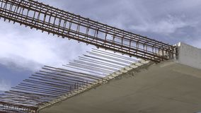 Konstruktion av bostads- byggnad Stäng sig upp av förstärkningbetong Branschkonstruktion och utveckling stock video