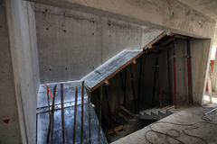 konstruktion av byggnaden på stege Arkivfoto