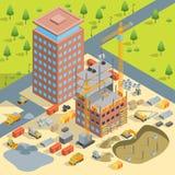 Konstruktion av den flervånings- isometriska sikten för byggnadsbegrepp 3d vektor royaltyfri illustrationer
