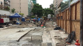 Konstruktion av den Linha 4 gångtunnellinjen Rio de Janeiro arkivfilmer