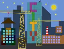 Konstruktion av den nya staden Arkivfoto
