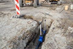 Konstruktion av den nya vattenlinjen Royaltyfri Bild