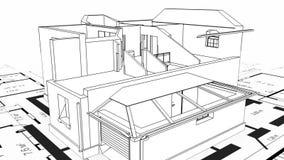 Konstruktion av det bostads- huset, wireframe royaltyfri illustrationer