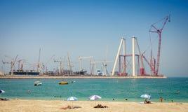 Konstruktion av det Dubai ferrishjulet Arkivfoton