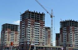Konstruktion av det nya bostads- området Arkivbilder
