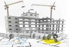 Konstruktion av en byggnad för delshus för gods försäljning för hyra verklig Reparation och renovering Arkivbild