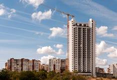 Konstruktion av en skyskrapa. Arkivfoto