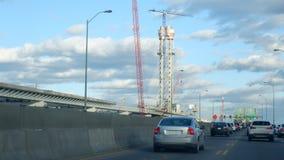 Konstruktion av en stor pylon royaltyfri fotografi