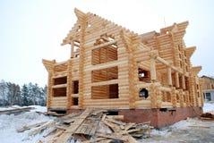 Konstruktion av hus från journaler Fotografering för Bildbyråer