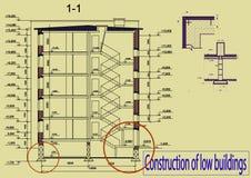 Konstruktion av låga byggnader Arkivbild