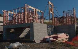Konstruktion av ny hem- byggnad, Auckland, Nya Zeeland Arkivfoton