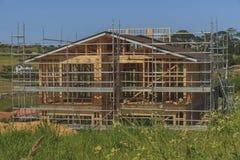 Konstruktion av ny hem- byggnad, Auckland, Nya Zeeland, Arkivfoto