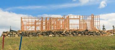 Konstruktion av ny hem- byggnad, Auckland, Nya Zeeland Arkivbild