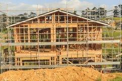 Konstruktion av ny hem- byggnad i Nya Zeeland, Auckland Arkivbilder