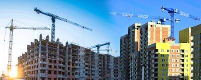 Konstruktion av nya bostads- byggnader mot himlen arkivbilder