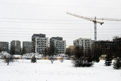 Konstruktion av nya hus i det Litauen Vilnius stadsFabijoniskes området Royaltyfri Foto