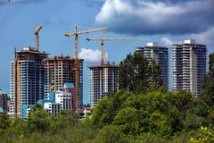 Konstruktion av nytt bostadsområde Arkivfoton