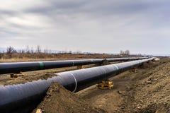 Konstruktion av rörledningen för gasledningtrans. Adriatiska havet - KNACKA LÄTT PÅ i inget royaltyfria foton