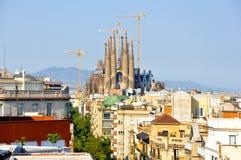 Konstruktion av Sagrada Família, Barcelona, Spanien. Royaltyfria Foton
