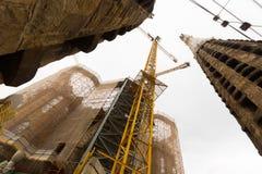 Konstruktion av Sagrada Familia i Barcelona Fotografering för Bildbyråer