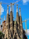 Konstruktion av Sagrada Familia i Barcelona - Spanien Arkivbilder