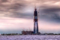 Konstruktion av skyskrapan i St Petersburg, Ryssland Arkivbilder