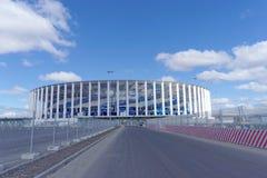 Konstruktion av stadion i Nizhny Novgorod till den FIFA världscupen 2018 arkivbild