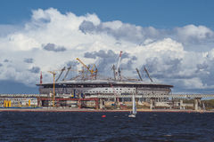 Konstruktion av stadionen Arkivfoton