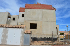 Konstruktion för konkret tjock skiva av spanska hus Royaltyfri Foto
