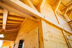 Konstruktion för Wood hus Arkivfoto
