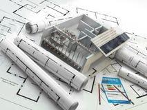 Konstruktion förnybar energi verkligt porslingods royaltyfri illustrationer