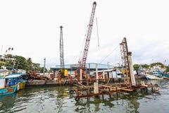 Konstruktion i den Galle hamnen, Sri Lanka Arkivbilder