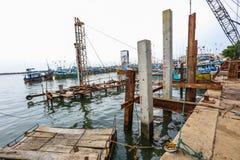 Konstruktion i den Galle hamnen, Sri Lanka Arkivfoto