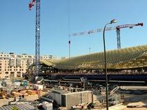 Konstruktion i området av Les Halles i Paris Arkivfoto