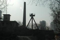 Konstruktion och förorening i Kina Arkivfoto