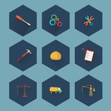 Konstruktion och fastighetsymbolsuppsättning, vektor Arkivfoto