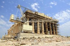 Konstruktion på parthenonen, akropol, Aten, Grekland arkivfoton
