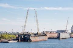 Konstruktion på torr skeppsdocka Fotografering för Bildbyråer