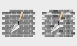 Konstruktion, palett och tegelstenar Väggkonstruktion i gråa signaler royaltyfri illustrationer