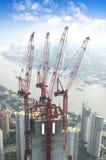 konstruktion stads- shanghai Royaltyfri Bild